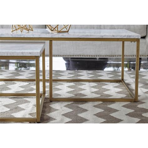 3 piece coffee end table set marble tables accent furniture home office brown. Carol Modern Classic White Marble Top Brushed Gold Nesting Rectangular Coffee Table - Set