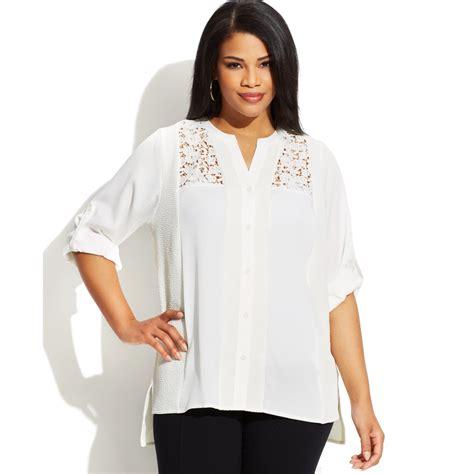 klein blouses calvin klein plus size threequartersleeve lace blouse in