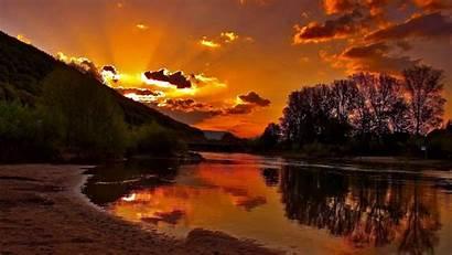 Sunset Mountain Lake Desktop Backgrounds Nature Wallpapers
