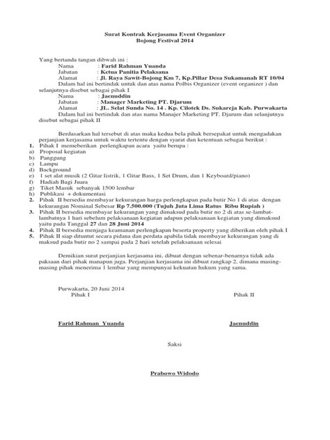 surat kontrak wedding organizer