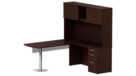 Office Desk Configurations by Bbf Realize Peninsula Desk In L Configuration Glass