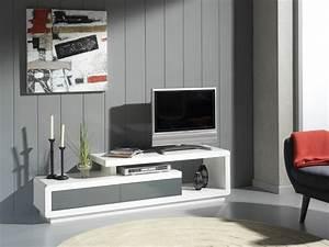 Meuble Blanc Et Gris : meuble laque gris ~ Dailycaller-alerts.com Idées de Décoration