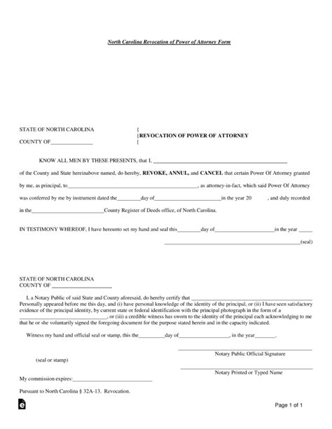 free small estate affidavit form north carolina free north carolina revocation of power of attorney form