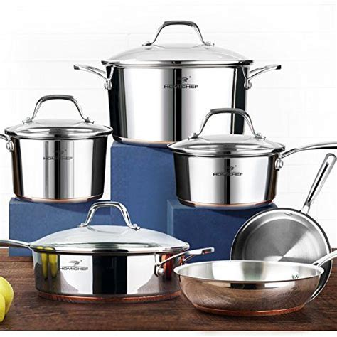 homi chef  piece mirror polished copper band nickel  stainless steel cookware set  toxic