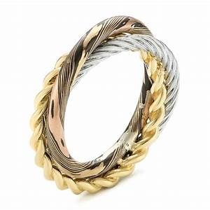 custom braided mokume white and yellow gold wedding band With custom mens wedding rings