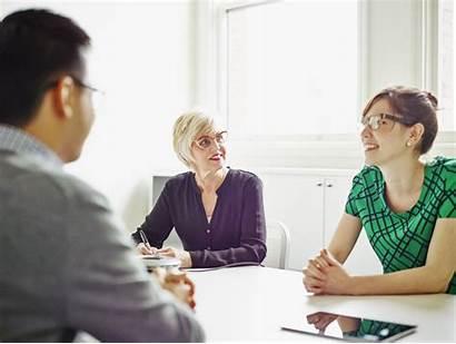 Interview Promotion Job Questions Discussion Businesswoman Senior