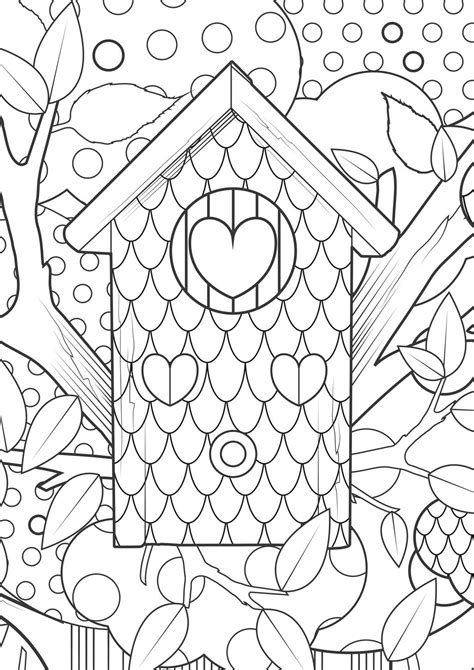 Kleurplaat Vogelhuis by Birdhouse Coloring Pages At Getcolorings Free