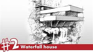 Waterfall House Perspective Drawing 2 Famous Architecture
