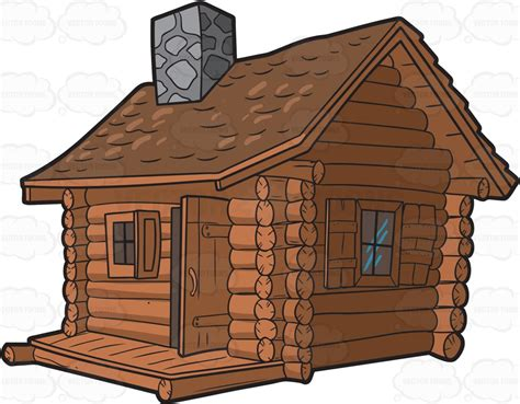 Cabin Clipart A Log Cabin With Chimney Clipart By Vector