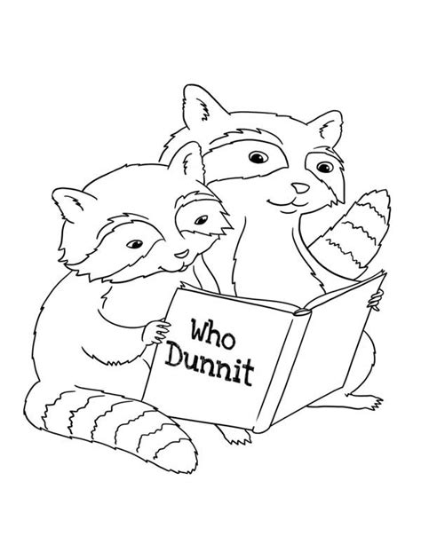 raccoon reading book coloring page netart