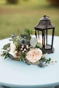 Thistle, Garden, Rose, And, Eucalyptus, Cocktail, Table, Centerpieces