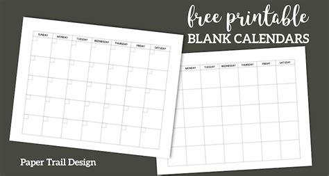printable blank calendar template paper trail design