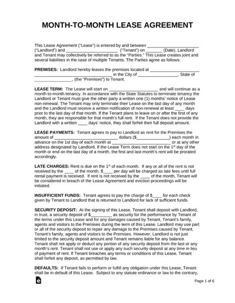 month  month lease agreement templates eforms
