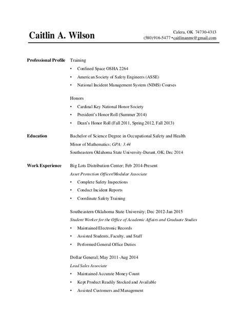 wilson caitlin resume 2015 without address