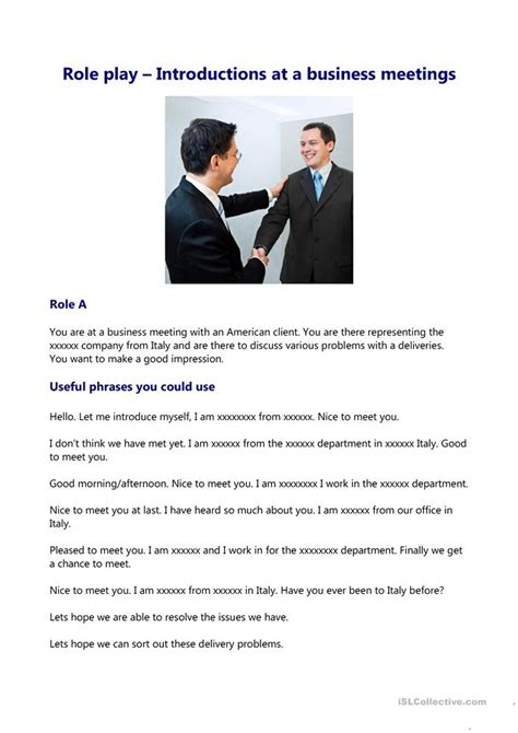 introductions   business meeting worksheet  esl