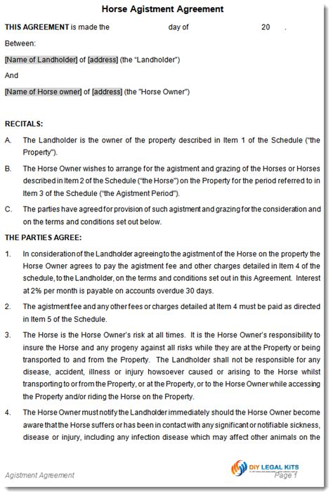 Boat Co Ownership Agreement Template by Equine Agistment Agreement Contract