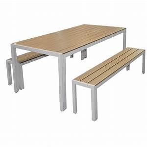 Table Et Banc De Jardin : salon de jardin avec bancs skala teckandco ~ Melissatoandfro.com Idées de Décoration