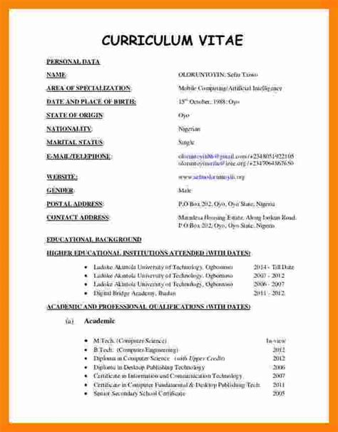 Professional Cv Format by 10 Cv Format Template Pdf Theorynpractice