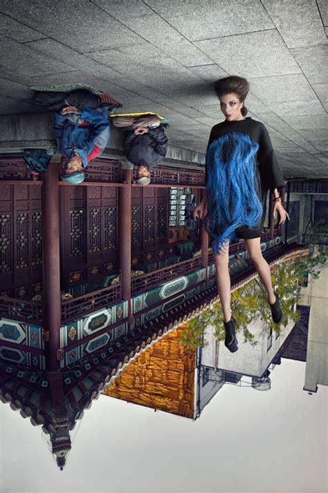 photographer captures upside  models  stylish