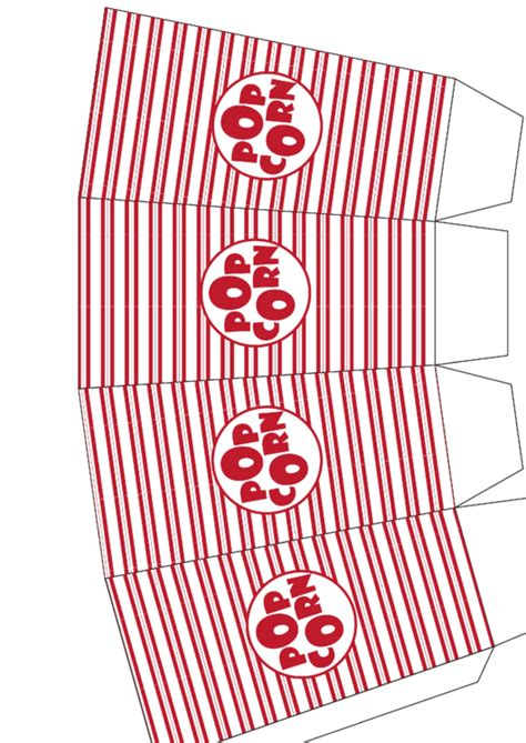 red stripes popcorn box template printable