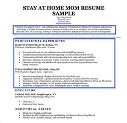 stay at home exle resumes stay at home resume sle writing tips resume companion