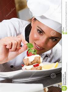 Chef decorating food stock photo. Image of adult, hand ...