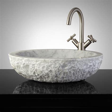 oval chiseled marble vessel sink bathroom