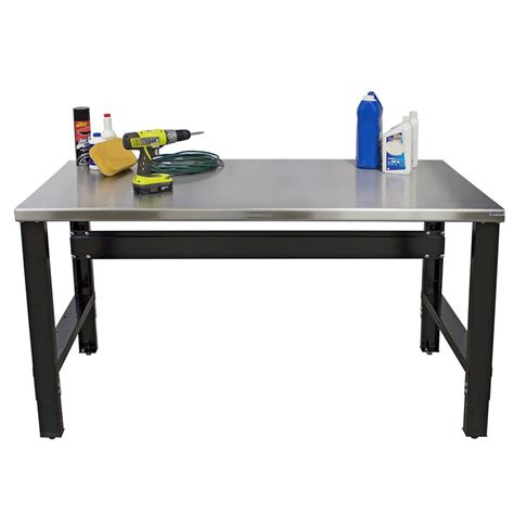 borroughs adjustable height stainless steel top workbench