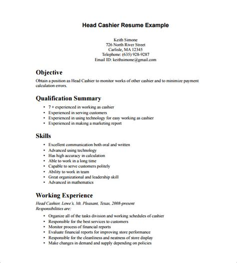cashier resume template 16 free sles exles