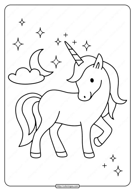 printable unicorn   moon coloring page