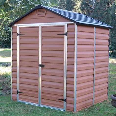 6x5 Shed Door by Skylight 6x5 Shed Strong Plastic Brown With Floor New Ebay