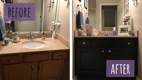painting bathroom vanity before and after chalk painted bathroom vanity makeover our storied home