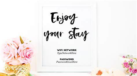 printable enjoy stay wifi password sign editable