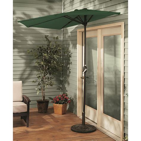 outdoor half patio umbrella castlecreek half patio umbrella 235556 patio umbrellas