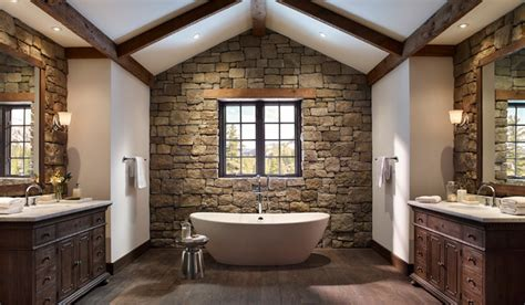 Rustic Stone Wall Bathroom With Open Tub-rustic