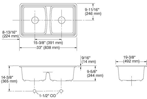 double kitchen sink dimensions double sink size befon for