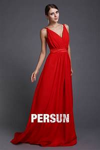 robe soiree rouge style simple ceinturee col v jmrougefr With robe rouge longue pas cher