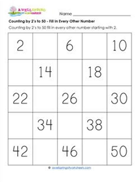 counting by 2 s to 50 fill in every other number