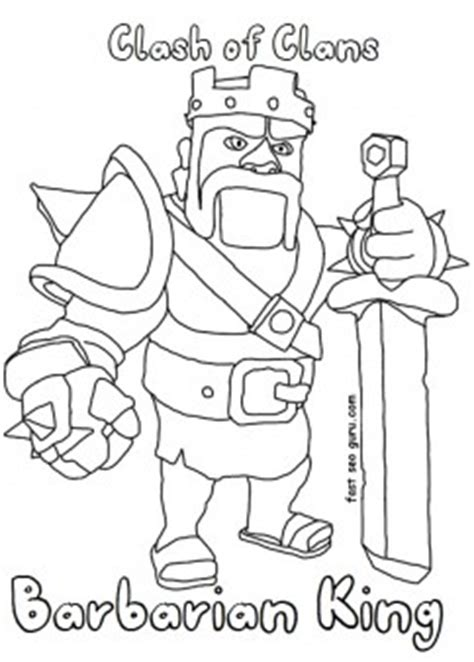 printable clash  clans barbarianking coloring pages