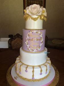 Purple And Gold Wedding Cake - CakeCentral.com
