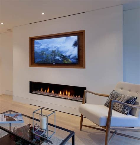 recessed tv  fireplace living room
