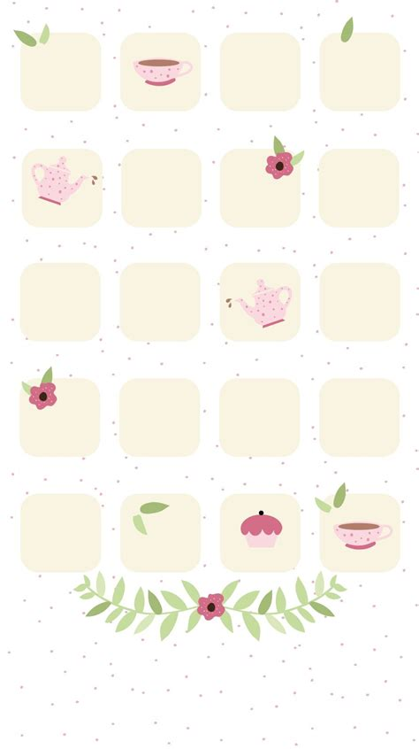 Girly Home Screen Pink Wallpaper by Simple Girly Teatime Iphone Home Screen Wallpaper Panpins