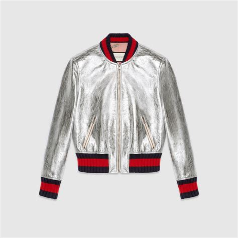 Crackle leather bomber jacket - Gucci Women's Bombers