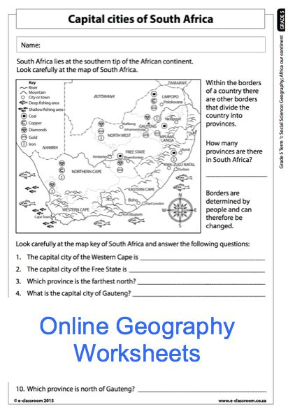 grade 5 geography worksheet capital cities of