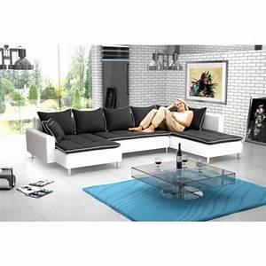 Grand canape panoramique 7 places dante en tissu et simili for Tapis oriental avec entretien canapé en cuir