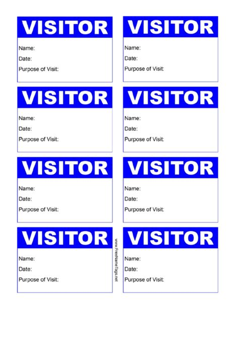 visitor badge blue  details printable