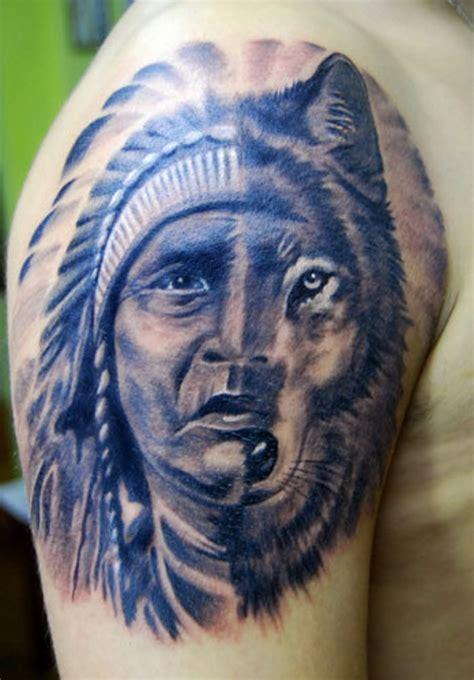 fantastic native american shoulder tattoos