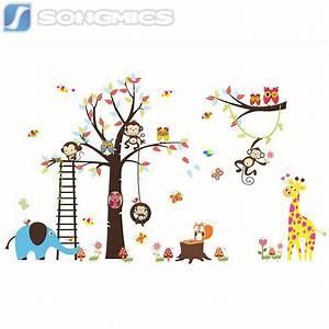Wandtattoo Tiere Kinderzimmer : wandtattoo kinderzimmer deko wald sticker tiere baum affe ~ Watch28wear.com Haus und Dekorationen