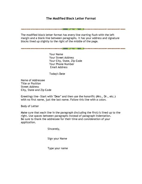correct form  business letters
