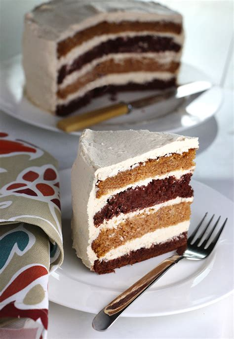 pumpkin chocolate layer cake  whipped brown sugar